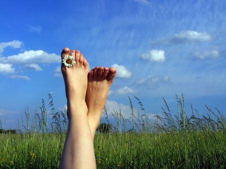 草の上に休憩 写真素材