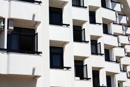 seacoast: Hotel balcons in a row Stock Photo