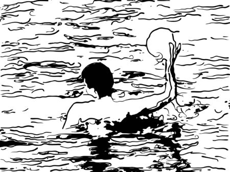 gala event: Vector illustration of water polo player in water..