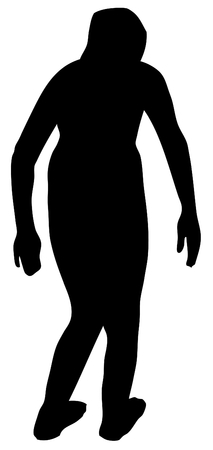 free diver: Girl ready for jumping silhouette vector