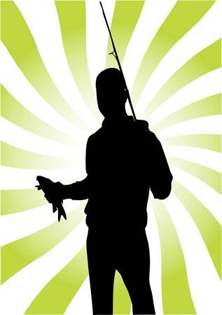 fishing silhouette:  Fisherman vector illustration