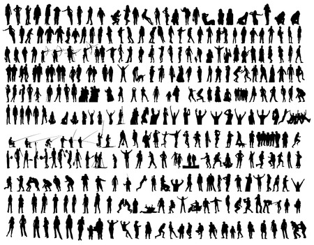 アクション ベクトル クリップ アート コレクションの人々  イラスト・ベクター素材
