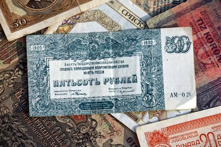Lor of old banknotes Stock Photo