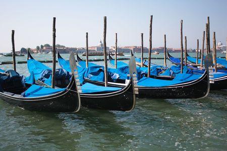 Venice port scene-gondolas in row photo