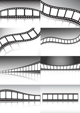 Roll film: Colecci�n de fondos de pel�cula vector - mucho de diferentes or�genes de cine y