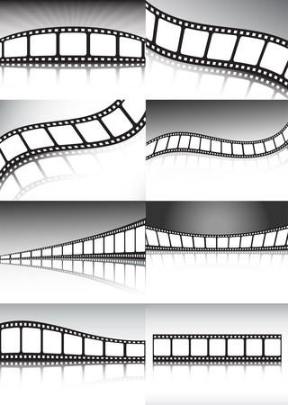 csíkok: Vector film backgrounds collection - lot of different cinema and film backgrounds Illusztráció