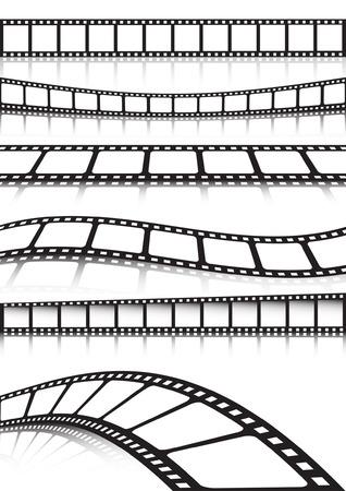 Striscia di pellicola vettoriale vari sfondo insieme  Vettoriali