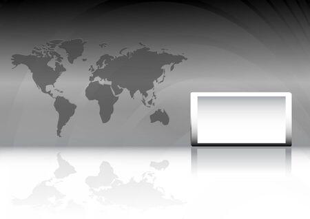 テキスト ボックスと世界地図と現代ベクトル ビジネスの背景