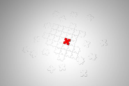final piece of the puzzle: Puzzle game background illustration - Business puzzle background illustration