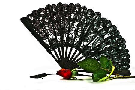 Black Lace Fan Stok Fotoğraf