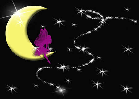 girls night out: Print of moon, stars and fairy intended for Girls Night Out Stock Photo