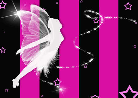 which: Fairy on fushia and black striped background which are Girls Night Out Colors