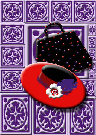 Red Hat and purse on purple background