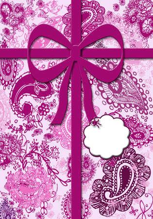 purples: Paisley Gift Wrap Print Stock Photo