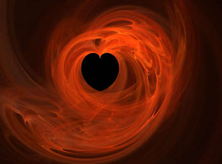 sizzle: Fractal print entitled Burning Passion with heart being the focus with flames surrounding it