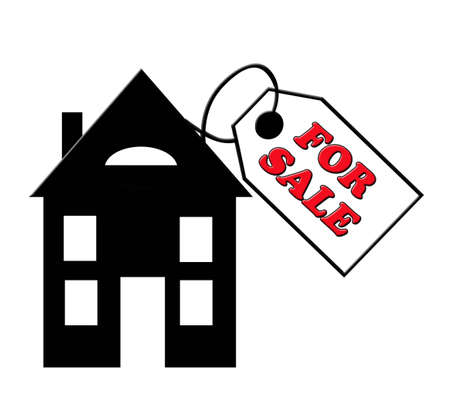 Huis For Sale met grote prijskaartje wegens slechte economie Stockfoto