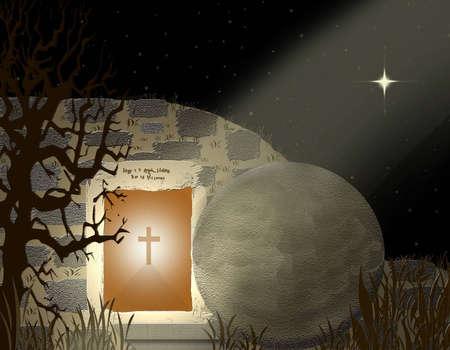 easter cross: Christ Is Risen Stock Photo