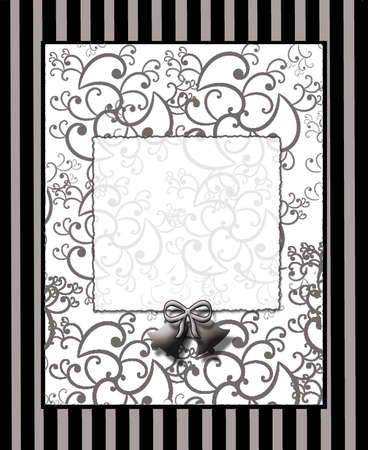 wedding bells: Black stripe and swirls print with small gray wedding bells Stock Photo