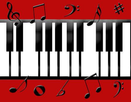 Piano toetsen bord met muziek noten eromheen