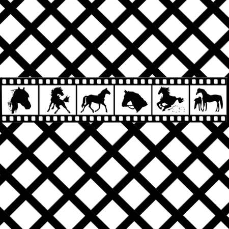 Various Horse graphics in filmstrip on trellis background