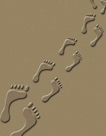 Foot prints in the sand background print Banco de Imagens