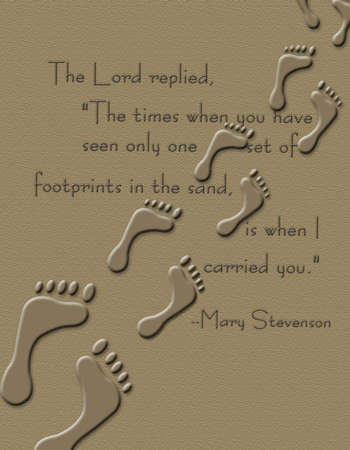 verse: Footprints in the Sand print with partial poem from Mary Stevenon Stock Photo