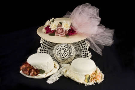 retro woman: A collection of four antique hats