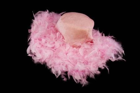 女性の広いつばピンク羽帽子 写真素材
