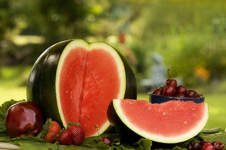 mouth watering: Watermelon and large slice along with cup of cherries,apple and a few strawberries in outside backyard