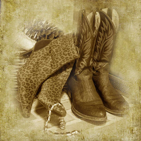 His and Her Boots Illustration textured print Stok Fotoğraf - 5186599