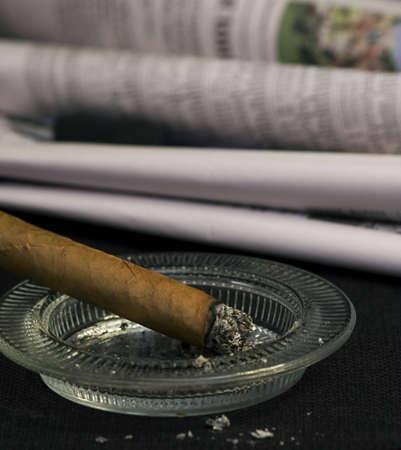 Cigar burning closeup