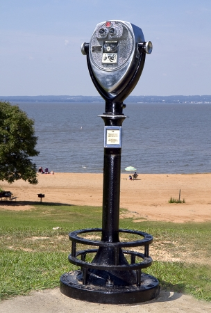 finder: Binocular view finder at beach Stock Photo