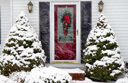 Home Entrance closeup during a  Snow Storm Stok Fotoğraf
