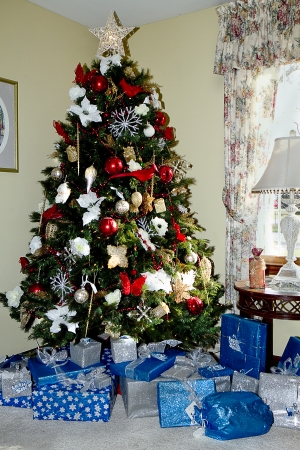 Christmas Tree and Presents below it Imagens
