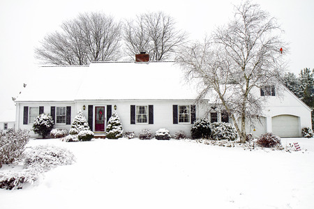 Cape Cod Home after Snowstorm