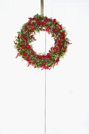 Cranberry Wreath on double doors Stok Fotoğraf
