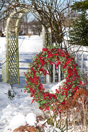 Cranberry wreath hanging in garden after snow storm Imagens