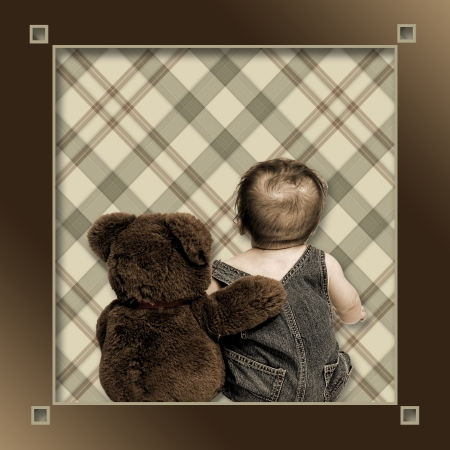 Baby and Best Friend Teddy Bear arm in arm with backs towards viewer against brown plaid