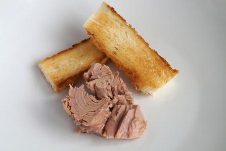 tunafish: Tuna steak with toast Stock Photo