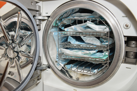 technolgy: Dental instruments sterilization in autoclave, technolgy uses steam and pressure.