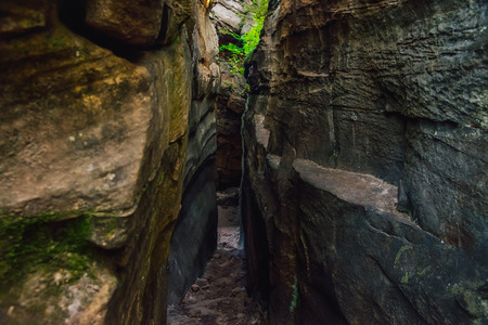 crevice: The passage between the rocks in the canyon crevice. Path like nature labirint, landscape.