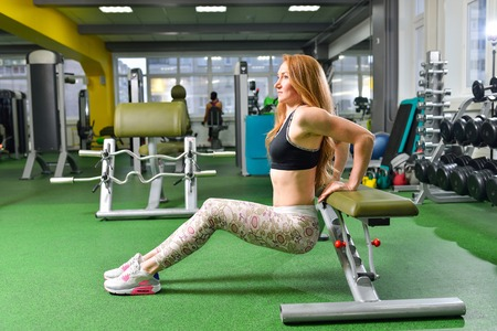 tricep: Fitness, sport, exercising lifestyle - Fit woman doing triceps dips at gym. Exercises with own body weight.. Stock Photo
