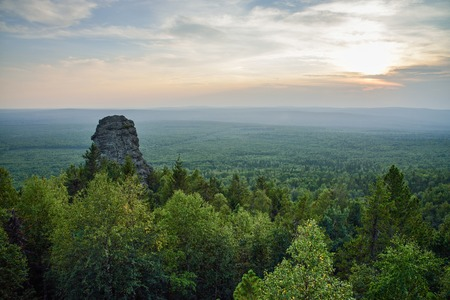 Amazing landscape with mountain range and beautiful blue sky at sunset, Russia, Ural, Europe - Asia boundary. Stock Photo