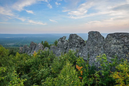 boundary: Amazing landscape with mountain range and beautiful blue sky at sunset, Russia, Ural, Europe - Asia boundary. Stock Photo