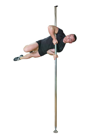 Young strong pole dance man isolated on white background. Stock Photo