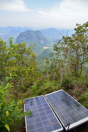 voltaic: Sun batteries on top of the hill in the jungle, Krabi, Thailand. Stock Photo