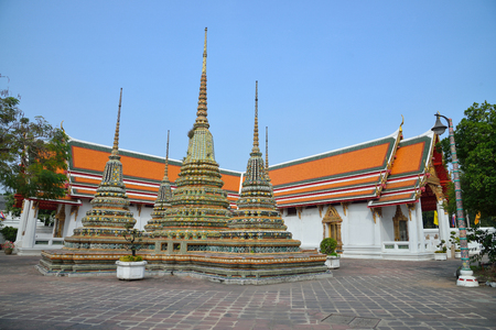 Phra Maha Chedi atTemple of the Reclining Buddha, AsiaTemple Wat Pho in Bangkok - Thailand. Stock Photo
