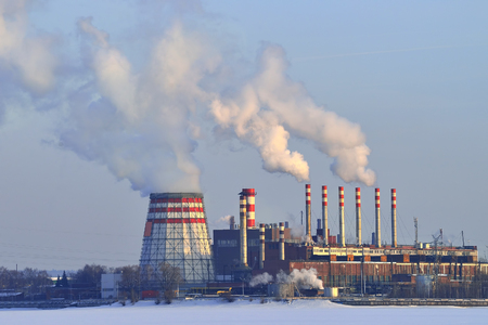 Smoke from thermal power plants in winter