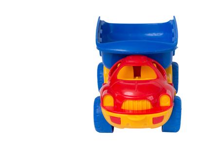 プラスチック子供のおもちゃ車、正面、コピー領域があります。