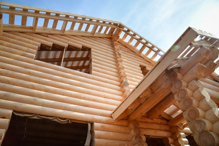 Structure of a new wooden house under construction.